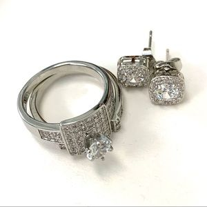 ENGAGEMENT WEDDING RING SET SIZE 9